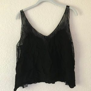 Black Tank Top with Lace Backing